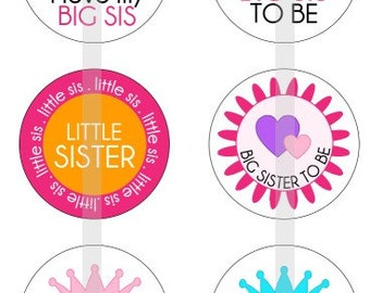 """Sisters - Big Sister, Little Sister - one 4x6 inch digital sheet of 1"""" round images for bottlecaps, glass tiles, stickers etc"""