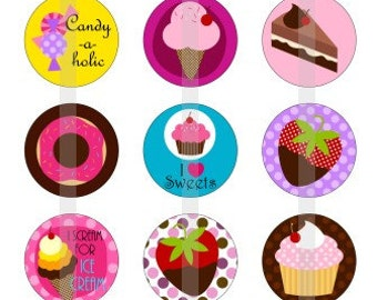 """Sweets Are Sweet - one 4x6 inch digital sheet of 1"""" round images for bottlecaps, magnets, glass tiles, pendants etc"""