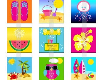 """Summer Fun - one 4x6 inch digital sheet of 1"""" square images for glass tiles, pendants, magnets etc."""