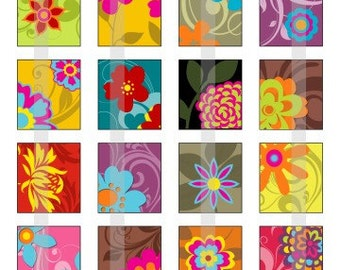 Ornamental Flowers - one 4x6 inch digital sheet of scrabble size (0.75 x 0.83 inches) images for scrabble tiles