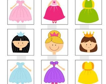 "Princesses - split - one 4x6 inch digital sheet of 1"" square images for glass tiles, pendants"