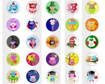 "Owls - one 4x6 inch digital sheet of 0.5"" (half inch) round images for mini bottlecaps, or glass tiles"