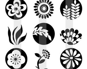 """Black And White Floral - one 4x6 inch digital sheet of 1"""" round images for bottlecaps, magnets, glass tiles, pendants etc."""