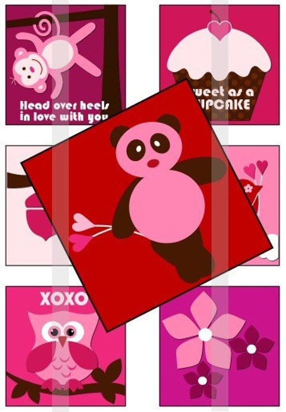 """Love is in the air (2) - one 4x6 inch digital sheet of 1"""" square images for magnets, glass tiles, stickers etc."""