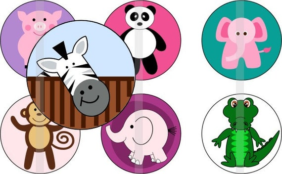 """It's A Jungle - one 4x6 inch digital sheet of 1"""" round images for bottlecaps, magnets, glass tiles, pendants etc."""