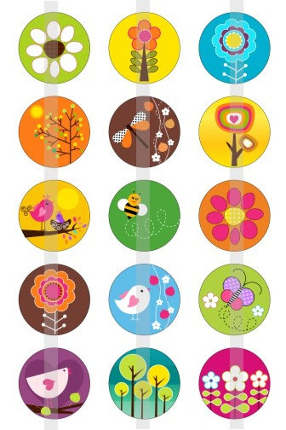 "Spring into Spring - one 4x6 inch digital sheet of 1"" round images for bottlecaps, magnets, glass tiles, pendants etc"