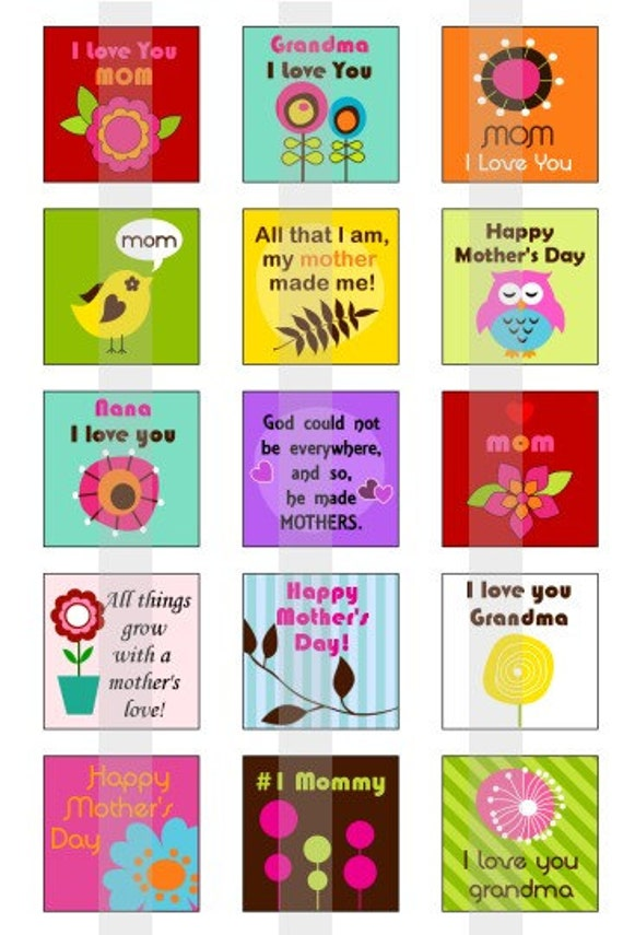 "Happy Mothers day - one 4x6 inch digital sheet of 1"" square images for glass tiles, pendant trays, magnets"