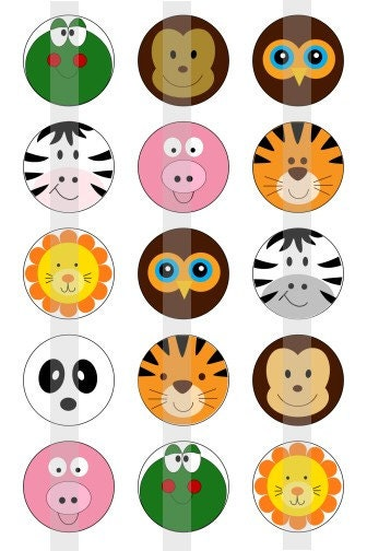 Cute Animal Faces one 4x6 inch digital sheet of 1