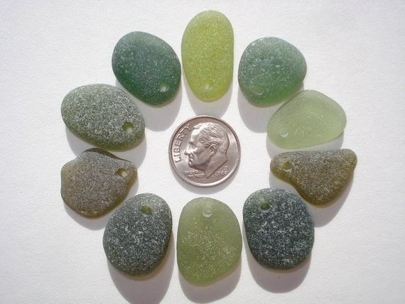 Drilled Beach Sea Glass 10 Top Drilled Olive, Citron, Forest Green Hawaii Beads Jewelry Quality