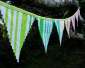 Carnival Bunting in Green Pink Green Fabric Flags Size Small