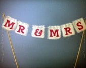 "Wedding Cake Topper ""Mr & Mrs"" Cake Bunting- You Choose Color"