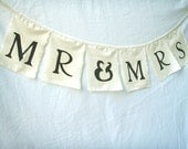 Wedding Bunting Mr & Mrs Flags Featured in BRIDES Magazine hand painted fabric Decoration for Car, Reception, photos