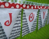 On SALE Joy to The World Christmas fabric Bunting on sheet music FREE SHIPPING