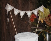 Rustic Wedding Cake Topper MR & MRS Bunting in white on natural cotton