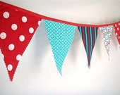 Circus Bunting Red, Turquoise, White and Blue Fabric Medium size for Nursery, Playroom, Birthday Party LAST ONE