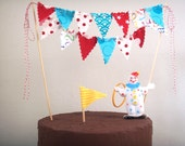 Cake Bunting Red and Turquoise Cake Topper Mini Fabric Flags