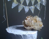 Wedding Cake Bunting sheer white and pear vintage fabric