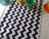 "Chevron Table Runner in Black and White, Yellow, Red, Gray, Aqua or RAINBOW 6 feet long by 13"" wide"