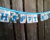 Happy Birthday Banner Blue and Green fabric mini party banner Birthday decoration for boys men