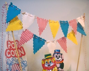 Cake Bunting Vintage Circus Style Banner on Bakers Twine