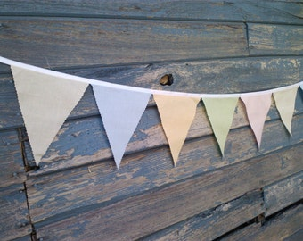 Fabric Pennant Bunting Flags - Soft and Faded Vintage Look