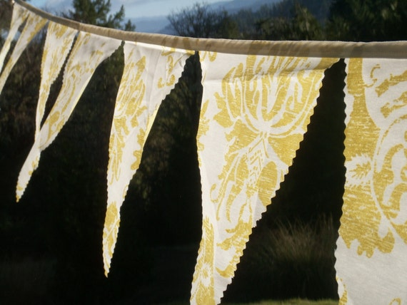 Elegant vintage sheer bunting flags-wedding, photo prop, parties or home decor
