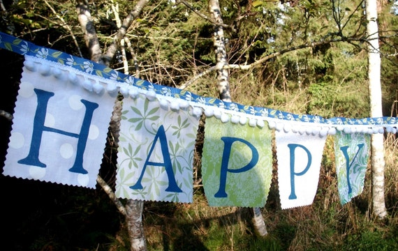 Happy Birthday Banner in Blue White and Green with white pom poms