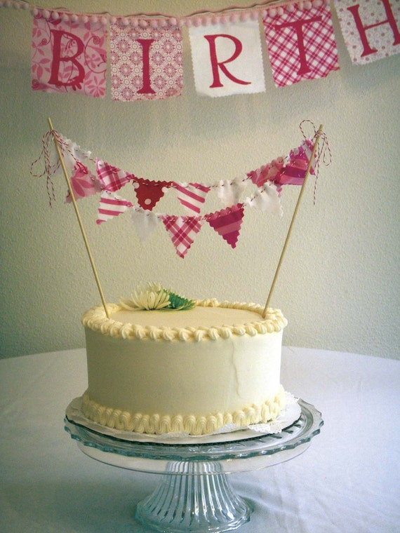 Cake Bunting Pretty Pink on Bakers Twine