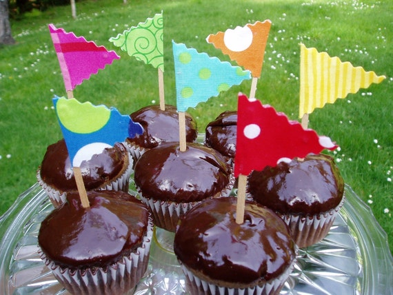 Cupcake Topper Circus Flags 12 Count Custom colors Available Choose to match any Banner, Flags or Theme