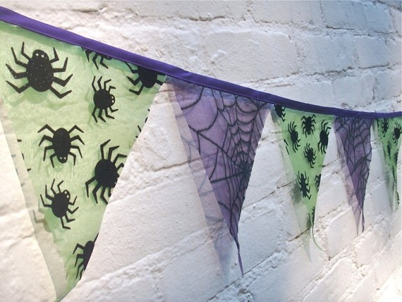 Halloween Bunting Purple and Green Spiders and Webs