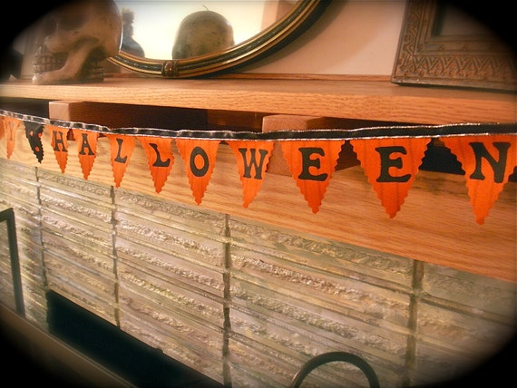 Halloween Bunting Orange and Black- Happy Halloween