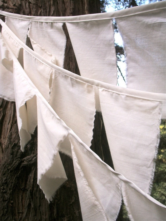 Prayer Flag Bunting- 10 Strands of Natural Cotton Flags Ready to personalize. Perfect for Weddings, Retirement, Office Parties, Birthdays