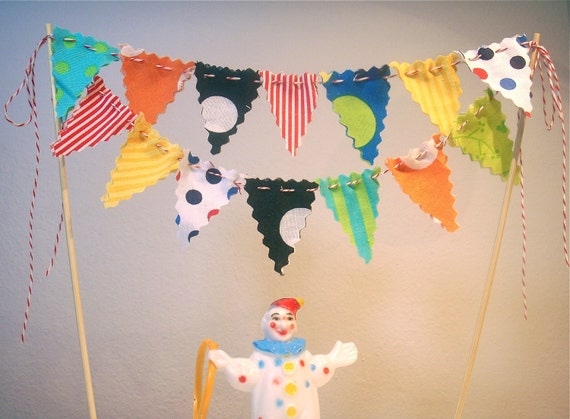 Custom listing for Ashley -Cake Bunting Big Top Clown Parade