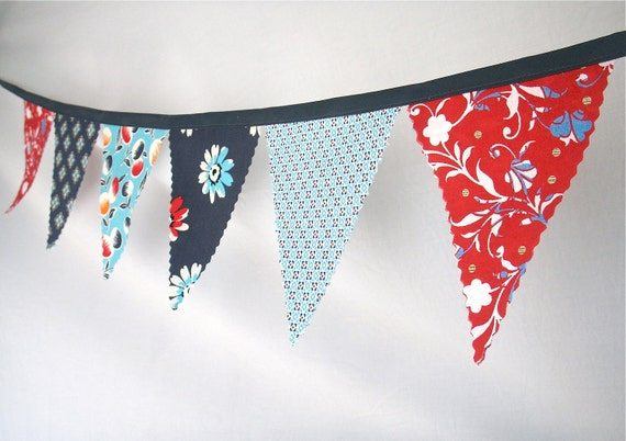 Bunting Flags - Fabric Pennants in Blues and Reds Modern Prints- size medium