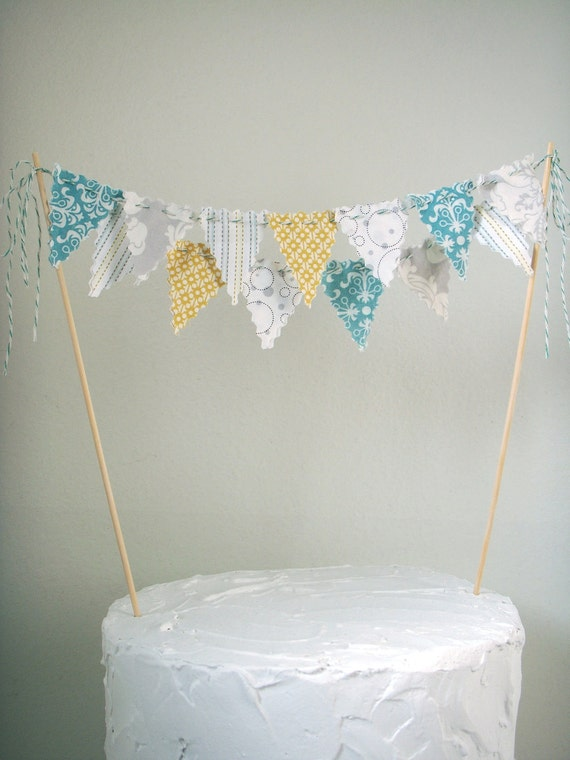 Cake Bunting Cake topper grey, yellow, aqua, white Baby Shower, Birthday, Wedding