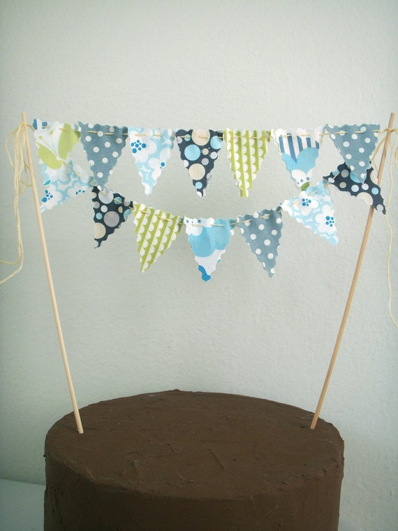 bunting wedding cake topper items similar to cake bunting cake topper grey blue lime 12226