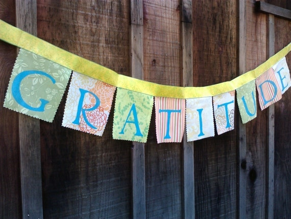 Bunting - GRATITUDE Fabric Banner Daily reminder
