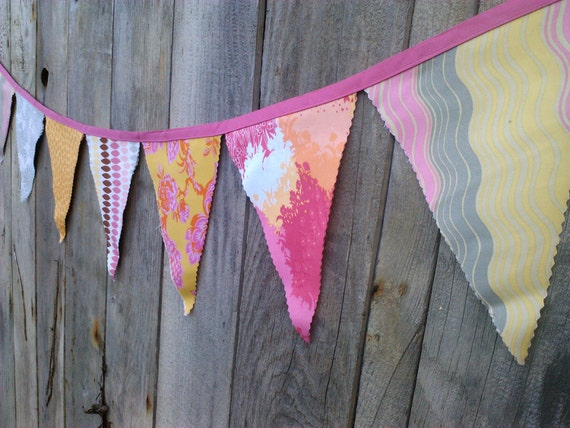 Fabric Bunting Flags Pink, Orange, Marigold Yellow, Pale Grey