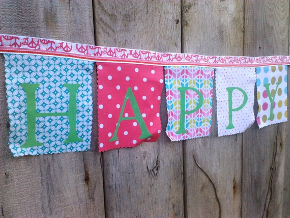 Happy Birthday Fabric Banner Pink Peace Party turquoise pink apple green