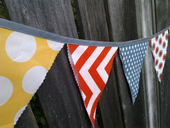 Fabric Bunting Flags Yellow Red and Grey Chevron and Giant Polka Dots - LAST ONE