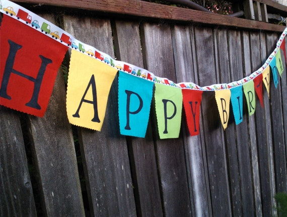 Happy Birthday Banner Cars and trucks boys birthday decoration party banner for children kids toddlers