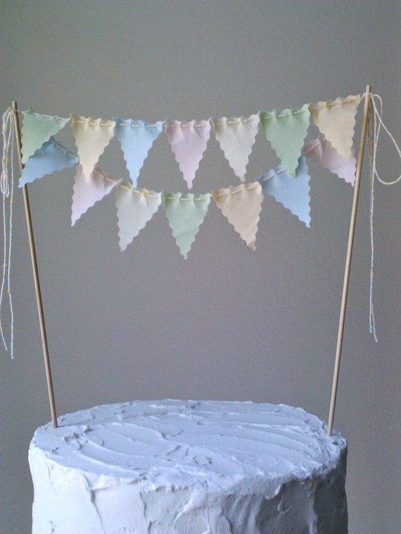 Cake bunting Pennant Flags Wedding Cake topper Birthday Party Faded Vintage Style pastels