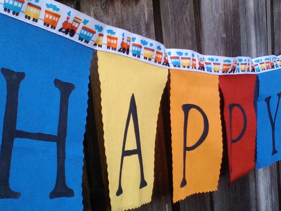 Happy Birthday Banner Trains Boys party banner in Bright Colors birthday decoration bunting flags