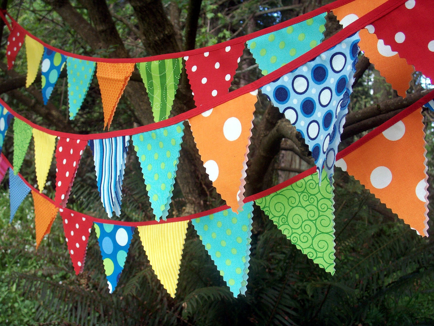 Circus Bunting Fabric Party Flags size small bunting banner