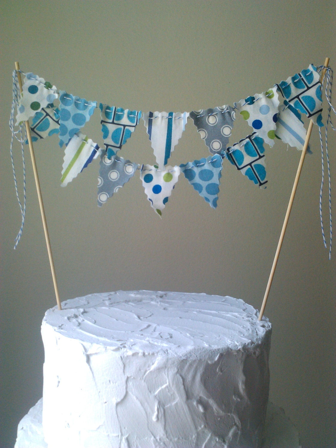 Cake Bunting Flags Blue Grey Green Fabric Whimsical by ...
