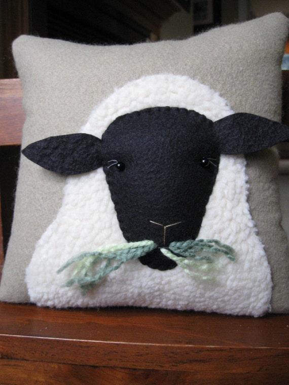 Primitive Wooly Sheep Decorative Pillow