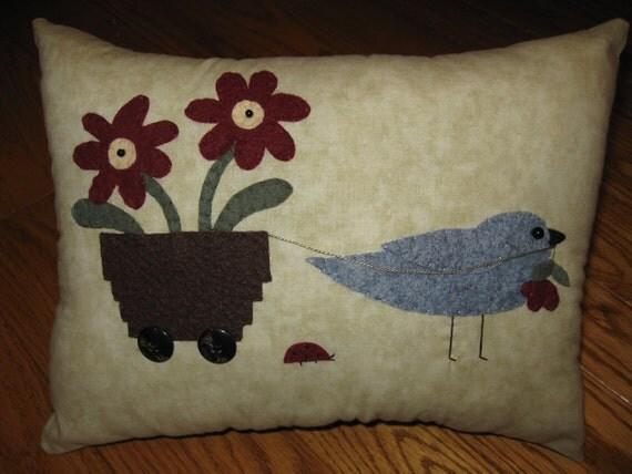 Bird Carting Flowers Primitive Penny Rug Pillow