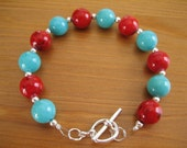 Turquoise and Red Stone Bead Bracelet