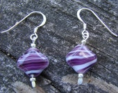 Purple and White Swirl Glass Earrings