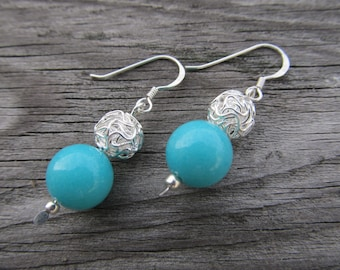 Turquoise Stone and Knotted Ball Earrings